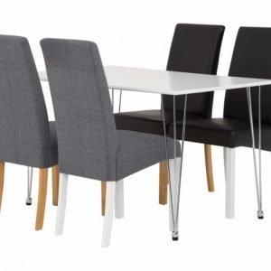 Kronberg Pöytä 120 Valkoinen Matta + 4 Falun Tuolia Valinnainen väri