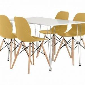 Kronberg Pöytä 120 Valkoinen Matta + 4 Rana Tuolia Keltainen