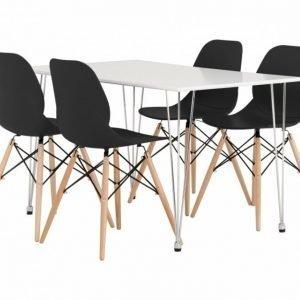 Kronberg Pöytä 120 Valkoinen Matta + 4 Rana Tuolia Musta
