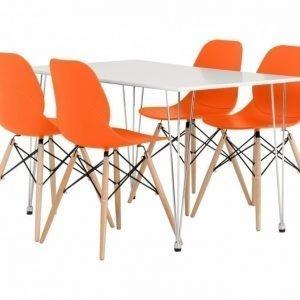 Kronberg Pöytä 120 Valkoinen Matta + 4 Rana Tuolia Oranssi