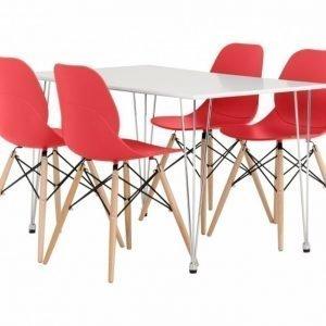 Kronberg Pöytä 120 Valkoinen Matta + 4 Rana Tuolia Punainen