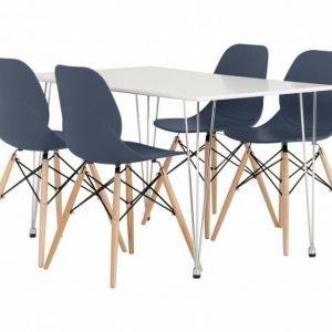 Kronberg Pöytä 120 Valkoinen Matta + 4 Rana Tuolia Tummansininen