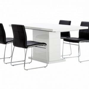 Kulmbach Pöytä 160 + 4 Viskan Tuolia Musta