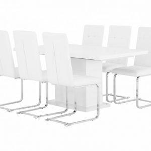Kulmbach Pöytä 160 + 6 ArvÅn Tuolia Valkoinen