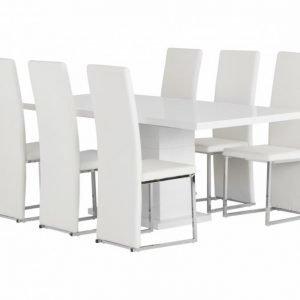 Kulmbach Pöytä 160 + 6 Billan Tuolia Valkoinen
