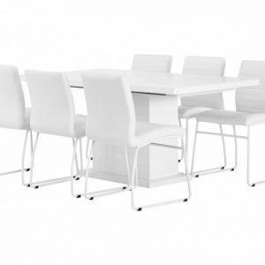 Kulmbach Pöytä 160 + 6 Frio Tuolia Valkoinen
