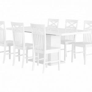 Kulmbach Pöytä 160 + 6 Solliden Tuolia Valkoinen