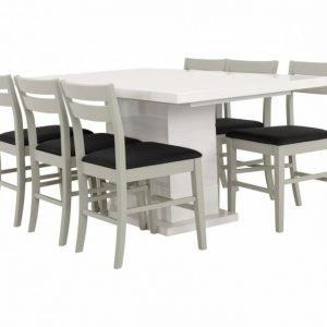 Kulmbach Pöytä 160 + 6 Växjö Tuolia Harmaa/Musta