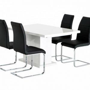 Kulmbach Pöytä 160 Valkoinen + 4 EmÅn Tuolia Musta