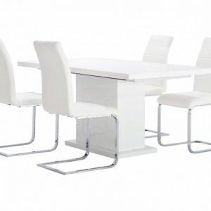 Kulmbach Pöytä 160 Valkoinen + 4 EmÅn Tuolia Valkoinen