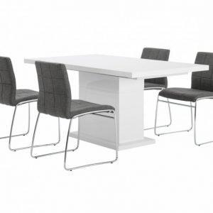Kulmbach Pöytä 160 Valkoinen + 4 Viskan Tuolia Harmaa