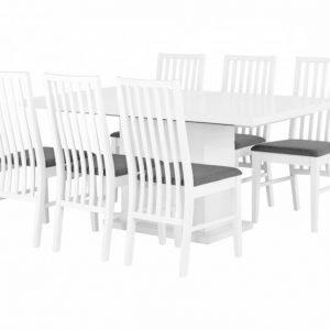 Kulmbach Pöytä 160 Valkoinen + 6 Alvesta Tuolia Valkoinen/Harmaa