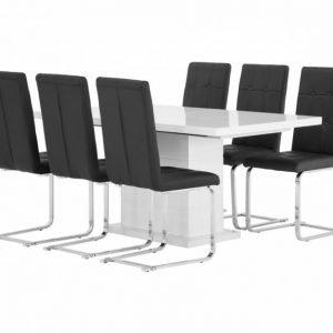 Kulmbach Pöytä 160 Valkoinen + 6 ArvÅn Tuolia Musta