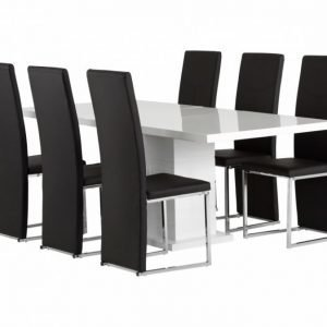 Kulmbach Pöytä 160 Valkoinen + 6 Billan Tuolia Musta