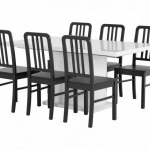 Kulmbach Pöytä 160 Valkoinen + 6 EVElina Tuolia Musta
