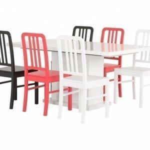 Kulmbach Pöytä 160 Valkoinen + 6 EVElina Tuolia Valinnainen väri