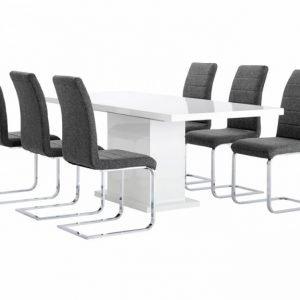 Kulmbach Pöytä 160 Valkoinen + 6 EmÅn Tuolia Harmaa