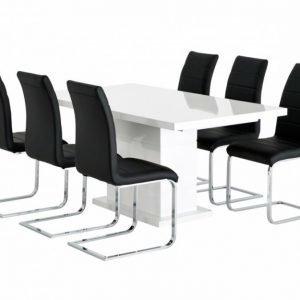 Kulmbach Pöytä 160 Valkoinen + 6 EmÅn Tuolia Musta