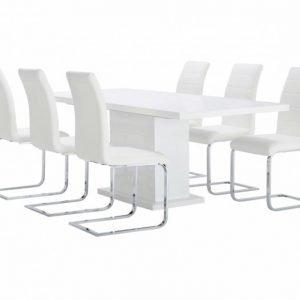 Kulmbach Pöytä 160 Valkoinen + 6 EmÅn Tuolia Valkoinen