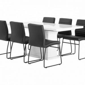 Kulmbach Pöytä 160 Valkoinen + 6 Frio Tuolia Musta