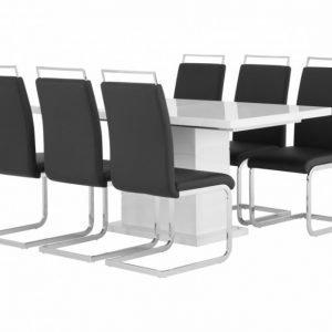 Kulmbach Pöytä 160 Valkoinen + 6 Gannan Tuolia Musta