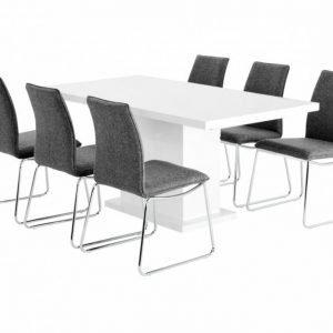 Kulmbach Pöytä 160 Valkoinen + 6 Ljungan Tuolia Harmaa