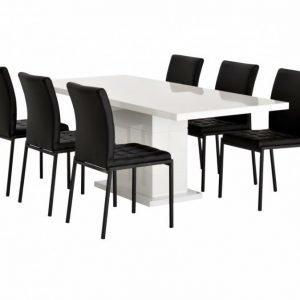 Kulmbach Pöytä 160 Valkoinen + 6 Ljusnan Tuolia Musta