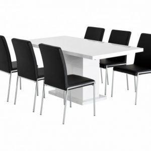 Kulmbach Pöytä 160 Valkoinen + 6 Nybro Tuolia Musta