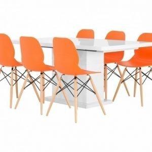 Kulmbach Pöytä 160 Valkoinen + 6 Nybro Tuolia Oranssi/Puujalat