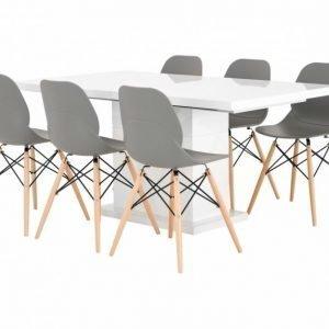 Kulmbach Pöytä 160 Valkoinen + 6 Rana Tuolia Harmaa/Puujalat
