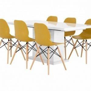 Kulmbach Pöytä 160 Valkoinen + 6 Rana Tuolia Keltainen/Puujalat