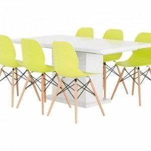 Kulmbach Pöytä 160 Valkoinen + 6 Rana Tuolia Lime/Puujalat