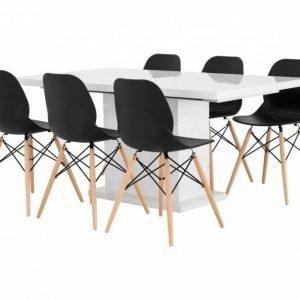 Kulmbach Pöytä 160 Valkoinen + 6 Rana Tuolia Musta/Puujalat