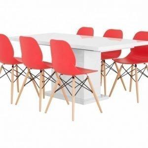 Kulmbach Pöytä 160 Valkoinen + 6 Rana Tuolia Punainen/Puujalat