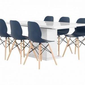 Kulmbach Pöytä 160 Valkoinen + 6 Rana Tuolia Tummansininen/Puujalat