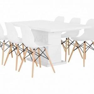 Kulmbach Pöytä 160 Valkoinen + 6 Rana Tuolia Valkoinen/Puujalat