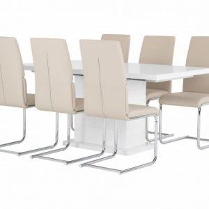 Kulmbach Pöytä 160 Valkoinen + 6 Tysan Tuolia Beige