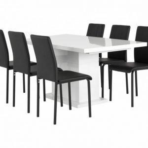 Kulmbach Pöytä 160 Valkoinen + 6 Veman Tuolia Musta
