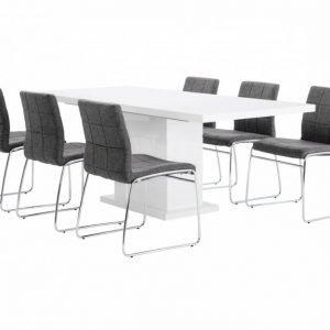 Kulmbach Pöytä 160 Valkoinen + 6 Viskan Tuolia Harmaa