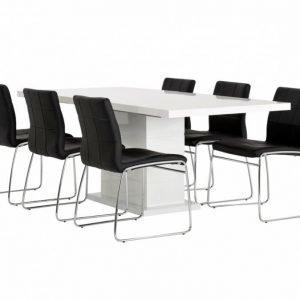 Kulmbach Pöytä 160 Valkoinen + 6 Viskan Tuolia Musta