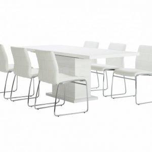 Kulmbach Pöytä 160 Valkoinen + 6 Viskan Tuolia Valkoinen