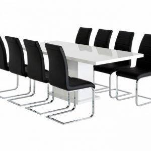 Kulmbach Pöytä 160 Valkoinen + 8 EmÅn Tuolia Musta