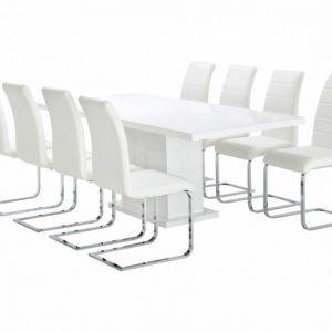 Kulmbach Pöytä 160 Valkoinen + 8 EmÅn Tuolia Valkoinen