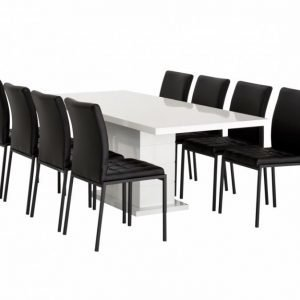 Kulmbach Pöytä 160 Valkoinen + 8 Ljusnan Tuolia Musta