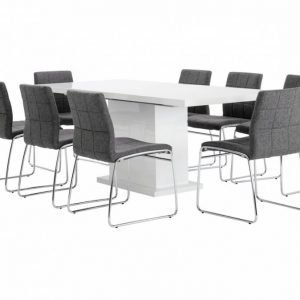Kulmbach Pöytä 160 Valkoinen + 8 Viskan Tuolia Harmaa