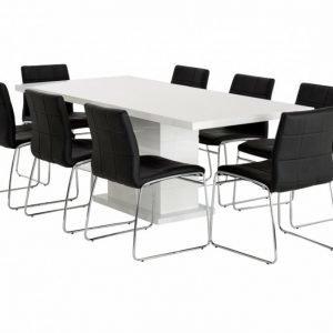 Kulmbach Pöytä 160 Valkoinen + 8 Viskan Tuolia Musta