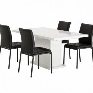 Kulmbach Pöytä 160 Vit + 4 Ljusnan Tuolia Musta
