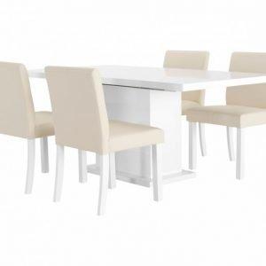 Kulmbach Pöytä 180 Valkoinen + 4 OXELÖSund Tuolia Beige