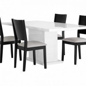 Kulmbach Pöytä 180 Valkoinen + 4 RONNEBy Tuolia Musta