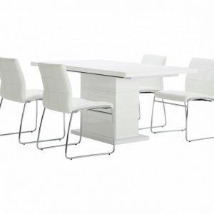 Kulmbach Pöytä 180 Valkoinen + 4 Viskan Tuolia Valkoinen